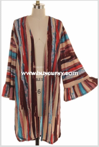 Ot-K {Painted Desert} Printed Cardigan With Split Sides Outerwear