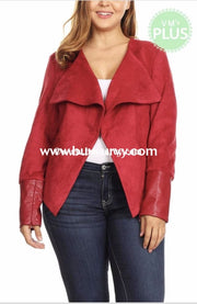 Ot-K {Sophisticated Lady} Red Faux Suede Leather Sale!! Outerwear
