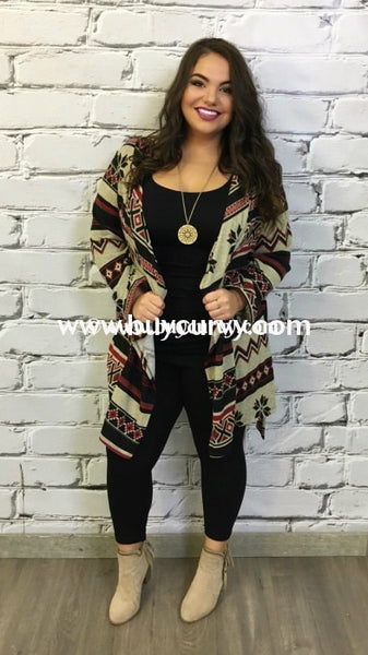 Ot-K Taupe/burgundy Printed Cardigan W Tie Detail Outerwear
