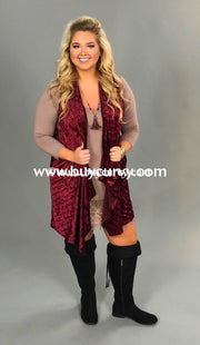 Ot-L Burgundy Velvet Vest With Pockets Outerwear