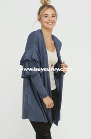Ot-L {Sweep Me Off My Feet} Blue Cardi With Ruffle Sleeves Sale!! Outerwear