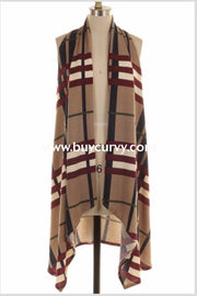 Ot-M {Lust For Life} Asymmetrical Mocha Plaid Vest Extended Plus Outerwear