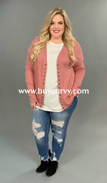 Ot-M {Made You Smile} Dusty Pink Snap-Front Cardi Sale!! Outerwear