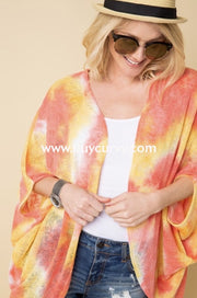 Ot-M {Sassy Chic} Yellow/coral Summer Knit Kimono Top Outerwear