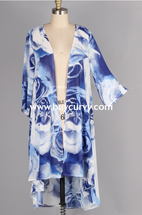 Ot-N {Fanciful World} Blue & White Floral Print Cardigan Outerwear