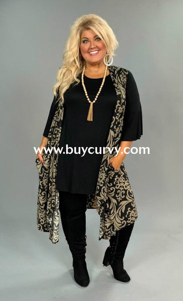 Ot-N {One Fine Day} Black/taupe Damask Print Vest Extended Plus Outerwear