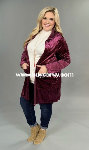 Ot-O (Extended Plus) Magenta Velvet Cardi With Sequin Elbow Pads Sale!! Outerwear