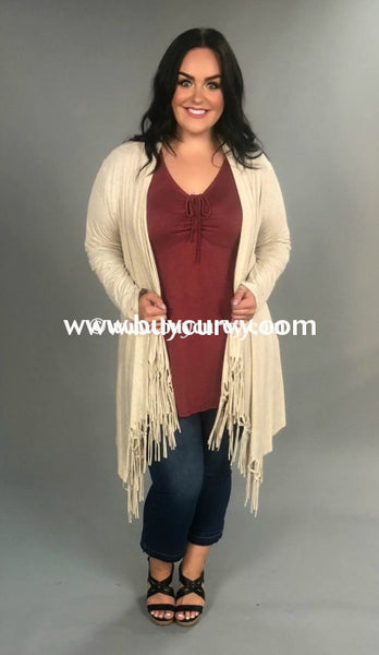 Ot -O Only Admiration Oatmeal Cardigan With Fringed Bottom Outerwear