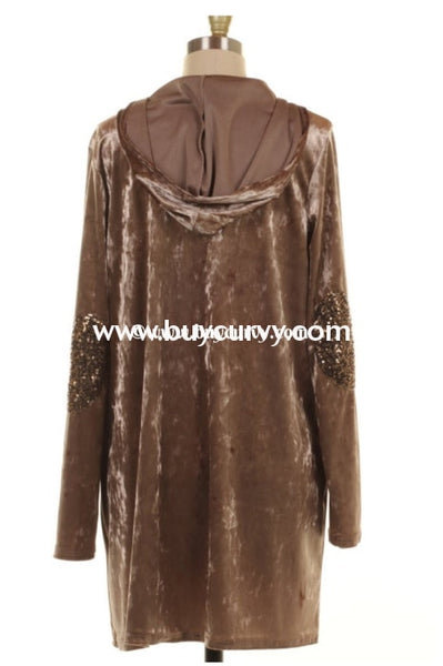 Ot-O Sandstone Velvet Cardi With Pockets & Elbow Patch Sale!! Outerwear