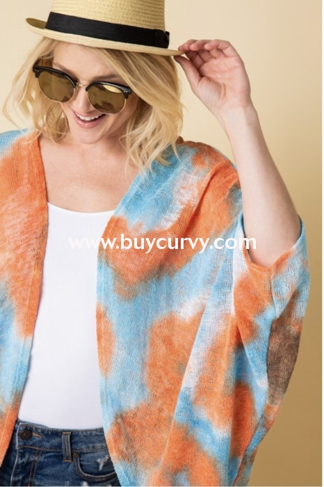 Ot-O {Sassy Chic} Coral/blue Summer Knit Kimono Top Outerwear