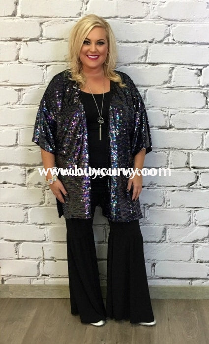 Ot-O Soprano Purple & Teal Sequined Cardi Sale!! Outerwear