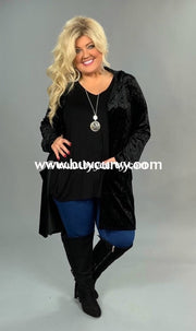 Ot-P Ebony Black Velvet Cardi With Hood & Pockets Sale!! Outerwear