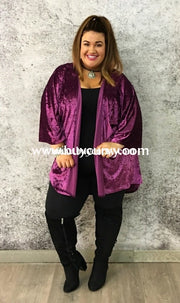 Ot-P Lovely J Velvet Magenta Cardi With Wide Sleeves Sale!! Outerwear