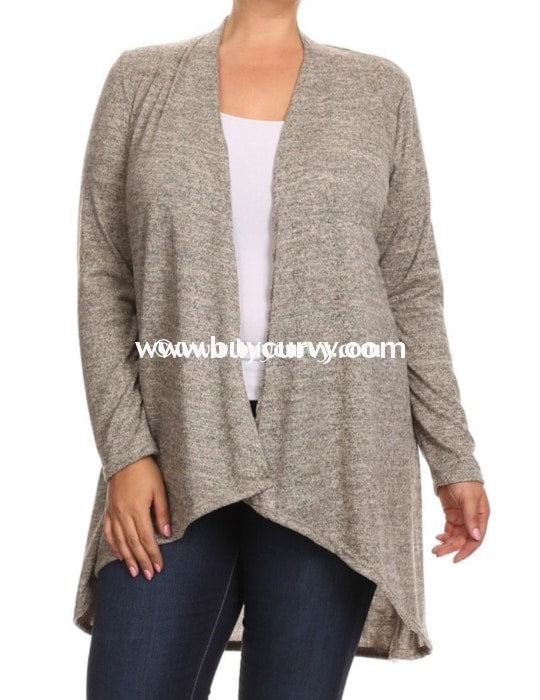 Ot-Q Moa Oatmeal Knit Cardigan With Long Sleeves Outerwear