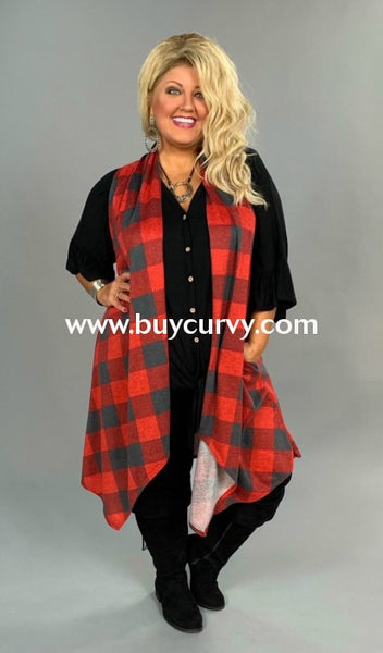 Ot-R {Better Half} Asymmetrical Red/gray Plaid Extended Plus Sale!! Outerwear