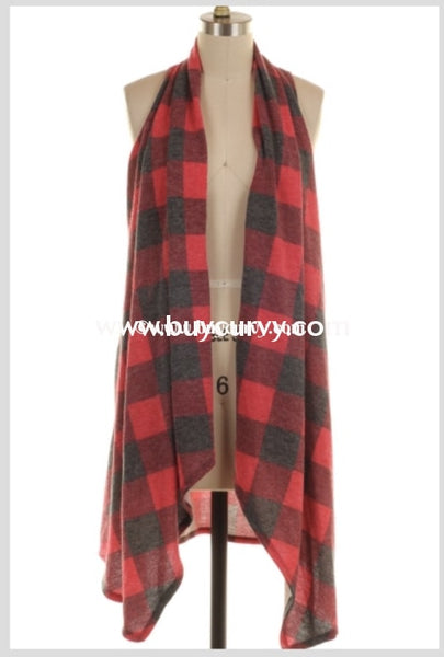 Ot-R {Better Half} Asymmetrical Red/gray Plaid Vest Extended Plus Outerwear