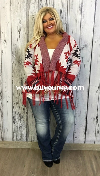 Ot-R Red/navy Aztec Print Cardi With Fringe Detail Sale! Outerwear
