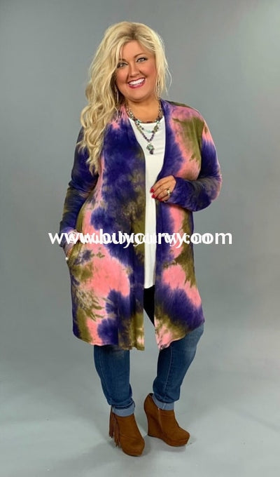 Ot-S {Kick Up Your Heels} Pink Tie-Dye Cardigan Outerwear