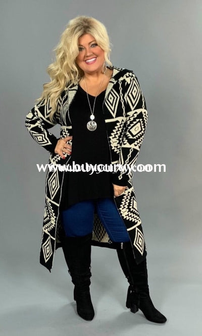 Ot- S Selfie Couture Black/ivory Aztec Long Cardi Sale!! Outerwear