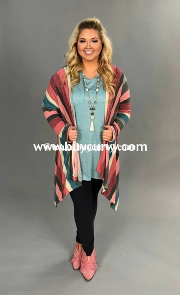 Ot-T {A Fresh Look} Asymmetrical Multi Striped Cardigan Outerwear