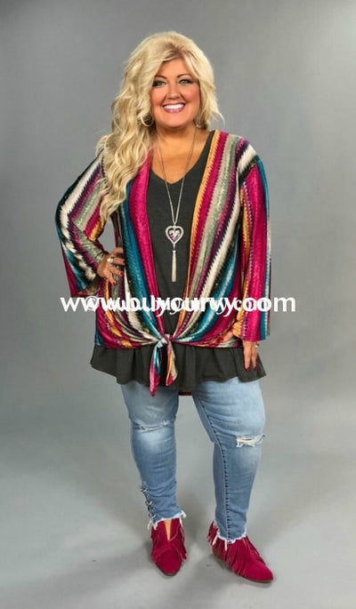 Ot-T {Just My Style} Vertical Striped Cardi Front Tie Sale!!! Outerwear