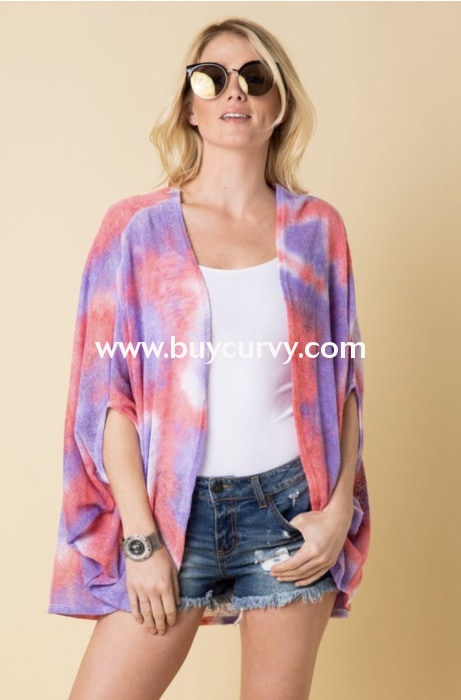 Ot-T {Sassy Chic} Lavender/pink Summer Knit Kimono Top Outerwear