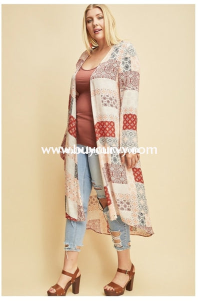 Ot-U {Heaven Only Knows} Salmon & Rust Patchwork Cardigan Outerwear