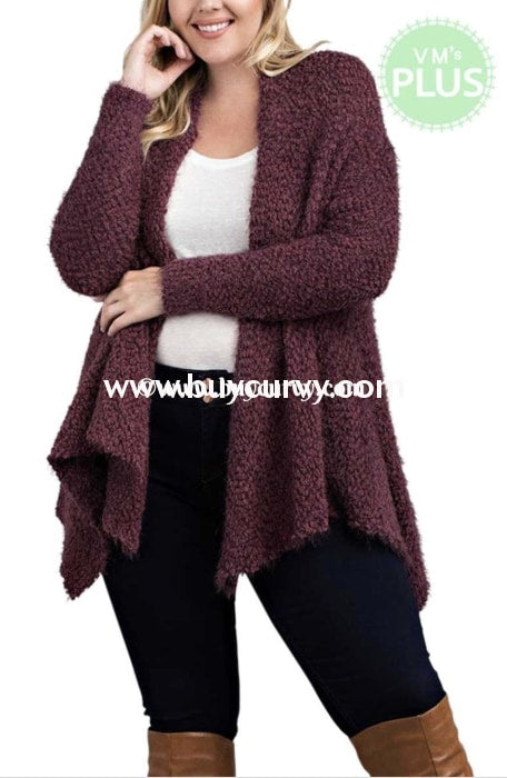 Ot-U {Love Me Tender} Asymmetrical Grape Sweater Cardigan Outerwear