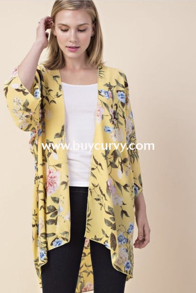 Ot-V {Sun-Shiny Day} Yellow Floral Print Wide Sleeve Cardigan Outerwear