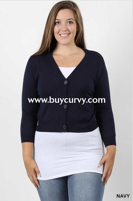 Ot-V {That French Look} Navy Button-Front Sweater Outerwear