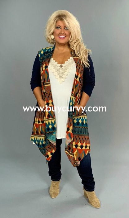 Ot-V {You Need This} Asymmetrical Navy Aztec Print Cardigan Outerwear