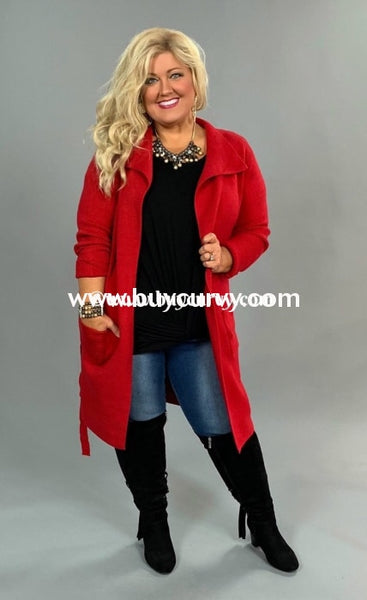 Ot-W {Love Is Blind} Thick Red Cardi Pockets Sale!! Outerwear