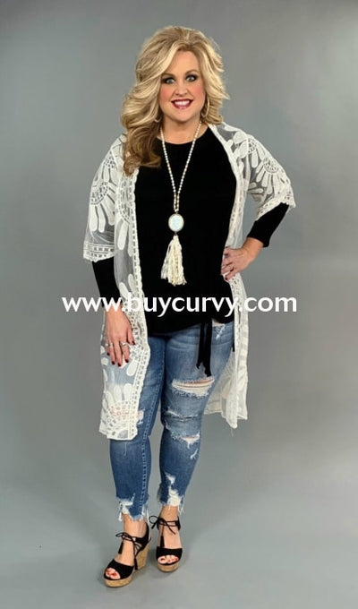 ff6e4d68c Ot-W {Shore To Shore} White Sheer Lace Detailed Cardigan Outerwear