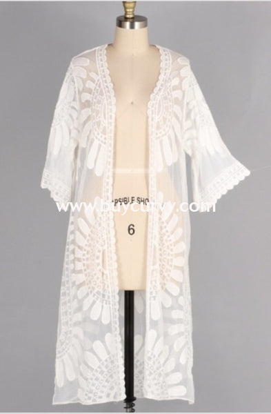 Ot-W {Shore To Shore} White Sheer Lace Detailed Cardigan Outerwear
