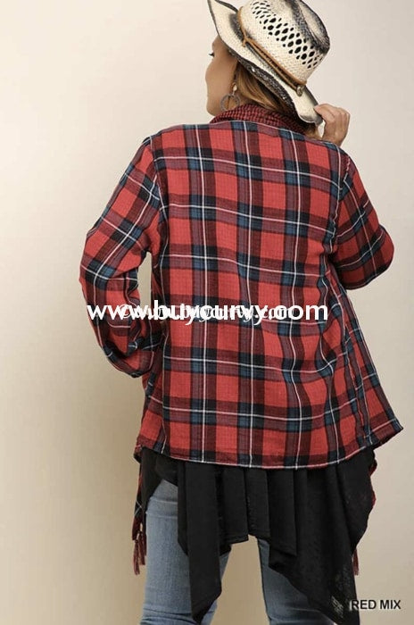 Ot-W Umgee Red Plaid Cardigan With Roll-Tab Sleeves Outerwear