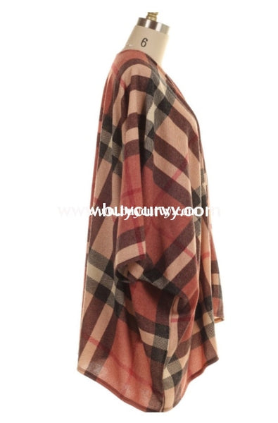 Ot-X {Meet Me There} Rust Burgundy Plaid Knit Cardigan Outerwear
