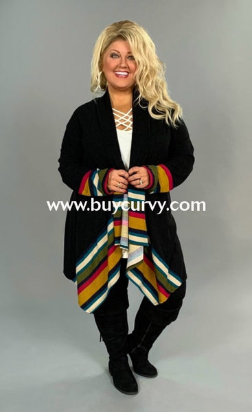 Ot-X {Modern Love} Black Cardigan With Striped Border Outerwear