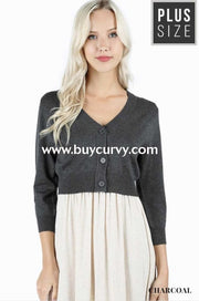 Ot-X {That French Look} Charcoal Button-Front Sweater Outerwear