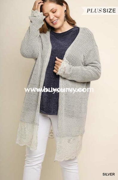Ot-X Umgee Silver Long Cardigan With Lace Detail Outerwear