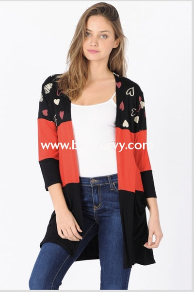 Ot-X {Wild At Heart} Red/black Cardigan With Heart Contrast Print Outerwear