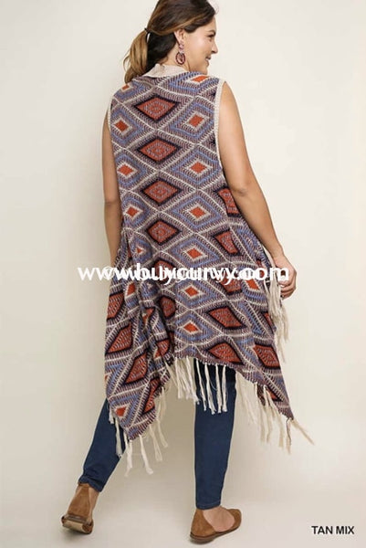 Ot-Y {Standing Room Only} Knit Fringed Multi-Color Vest Outerwear