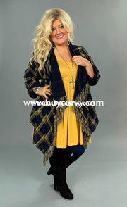 Ot-Y Umgee Navy Plaid Cardi With Roll-Tab Sleeves Sale!! Outerwear