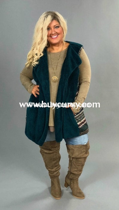 Ot-Y {Winter Snuggles} Teal Fleece With Aztec Contrast Sale!! Outerwear