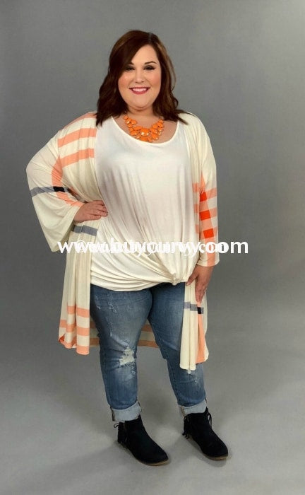 Ot-Z {Life Goes On} Ivory Cardigan With Navy & Coral Print Outerwear