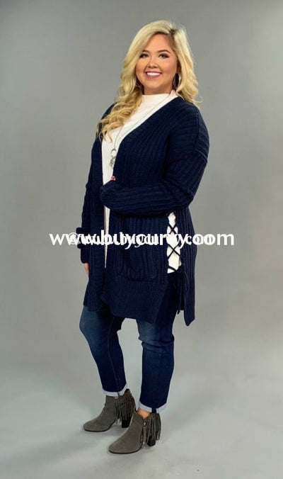 Ot-Z {Very Impressive} Navy Cardi With Pockets Sale!! Outerwear