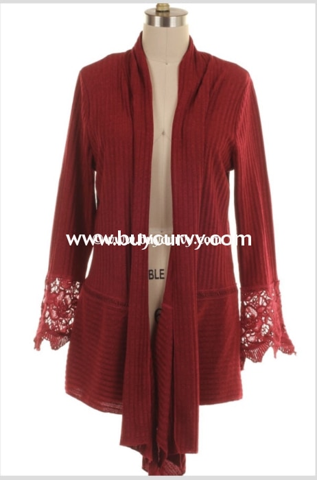Ot-Z {Youre So Right} Burgundy Ribbed Crochet Cardigan Outerwear