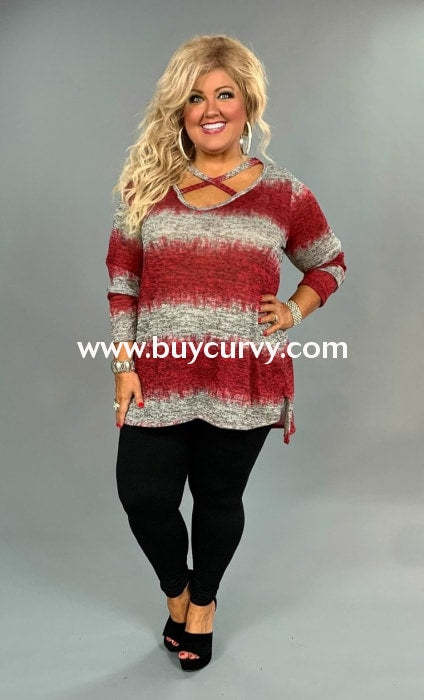 Pls-A {New Cheers} Cranberry Gray Criss-Cross Sweater Pls