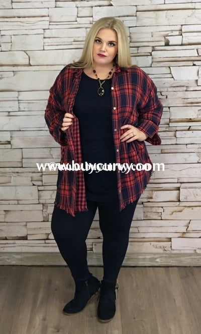 Pls-A Umgee Oversized Navy Plaid Top With Frayed Hem Pls