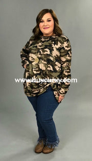 Pls-C {Free As Can Be} Camouflage Top With Knot Hem Pls