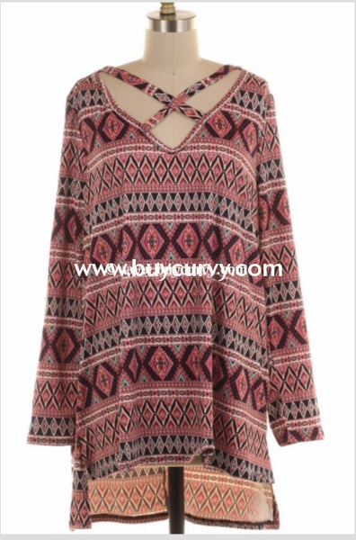 Pls-D {Arm Candy} Ethnic Print Tunic With Criss-Cross Detail Pls